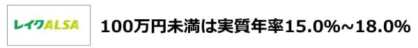 レイクALSA100万円未満は15.0%~18.0%